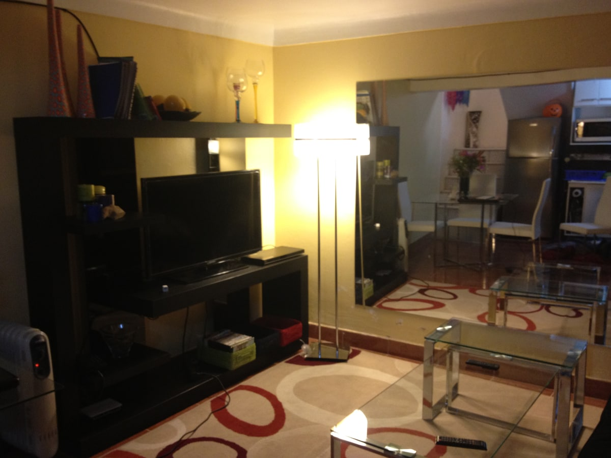 "Living Area with 40"" Flastscreen, DVD Player, WiFi"