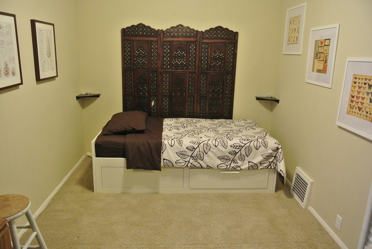 Your bedroom. Single bed shown, also converts into king. The magic of Swedish furniture.