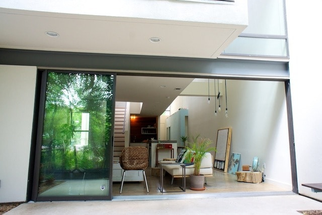 Living room with sliding doors fully open