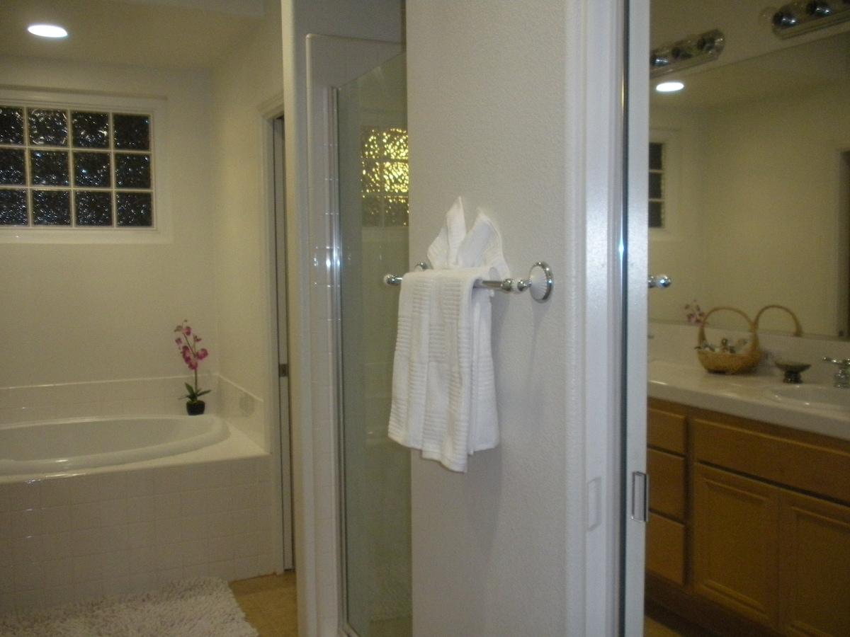 Mirrored closets in dressing area. Master bath with Roman tub & separate shower, dual headed shower.