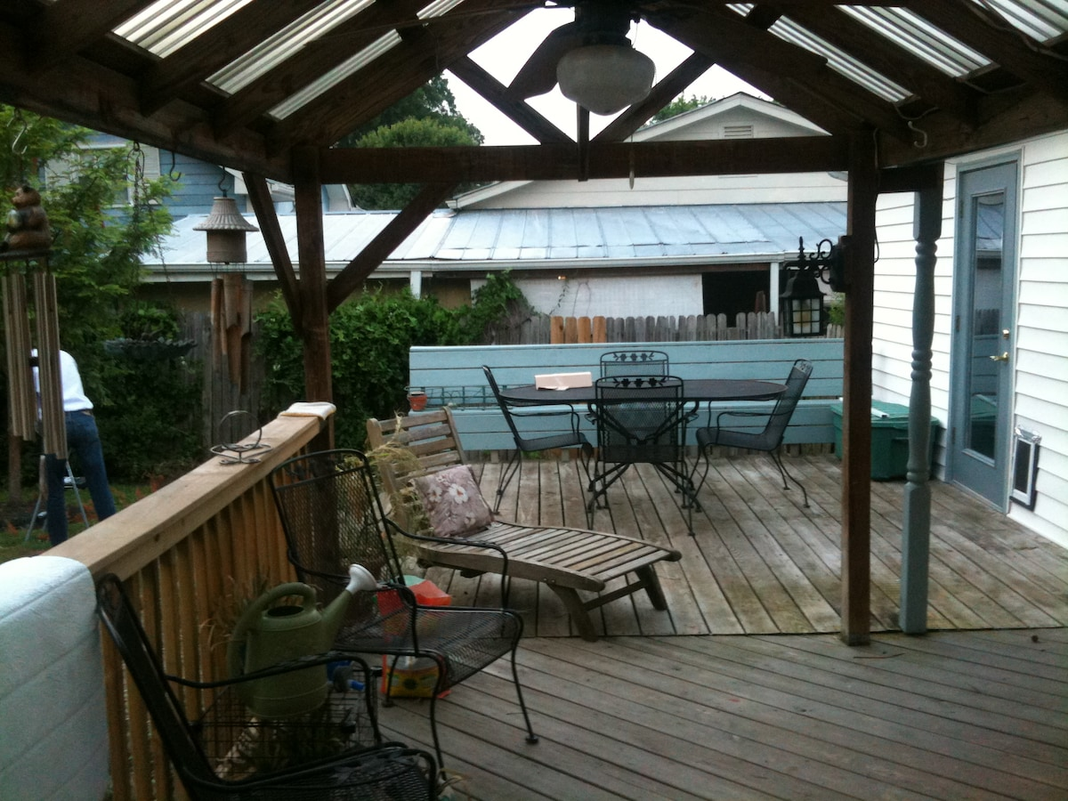 The porch has both covered and uncovered sections, and guests are welcome to chill out and enjoy Nashville weather!