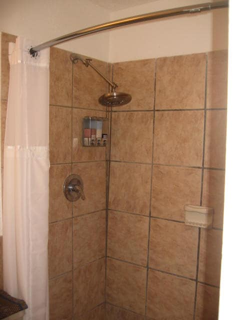 Shower with soap/shampoo dispenser