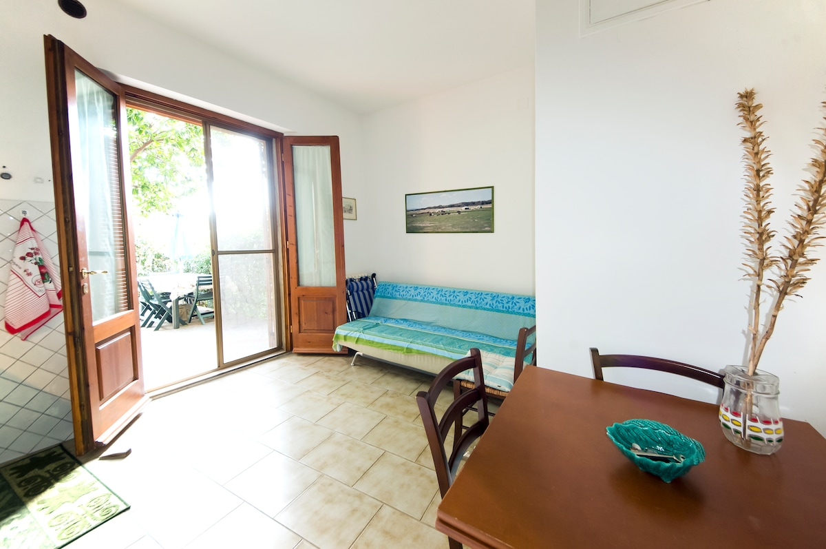The kitchen and sitting room area, with a convertible sofa for 1 person