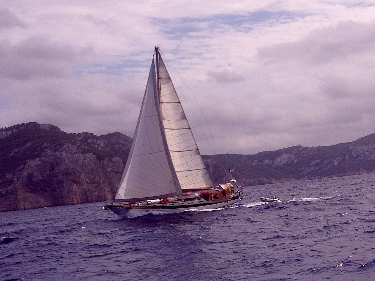Race with other boats on the north cost of Ibiza island