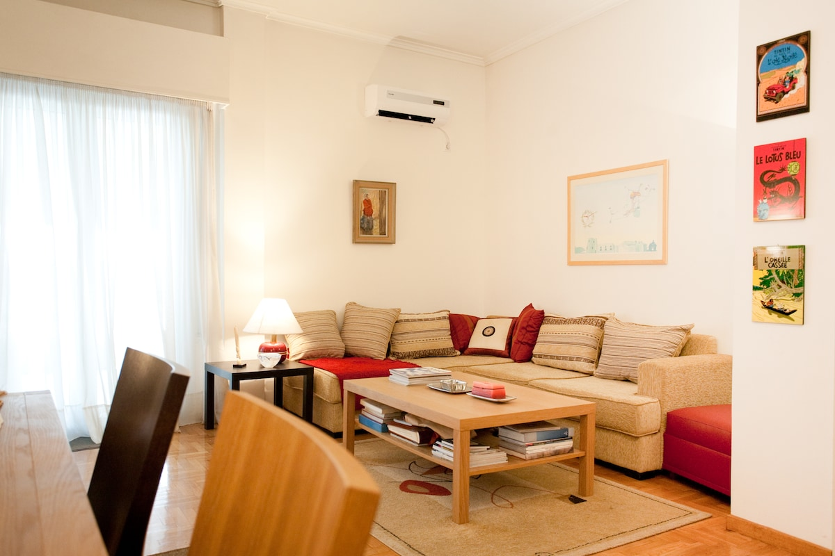 A big living room with aircondition free WI-FI Internet and free telephone calls(within Greece) to relax after a long day.