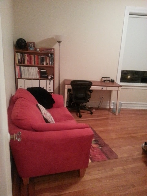 Entry to the bedroom (study desk & love seat in the room)