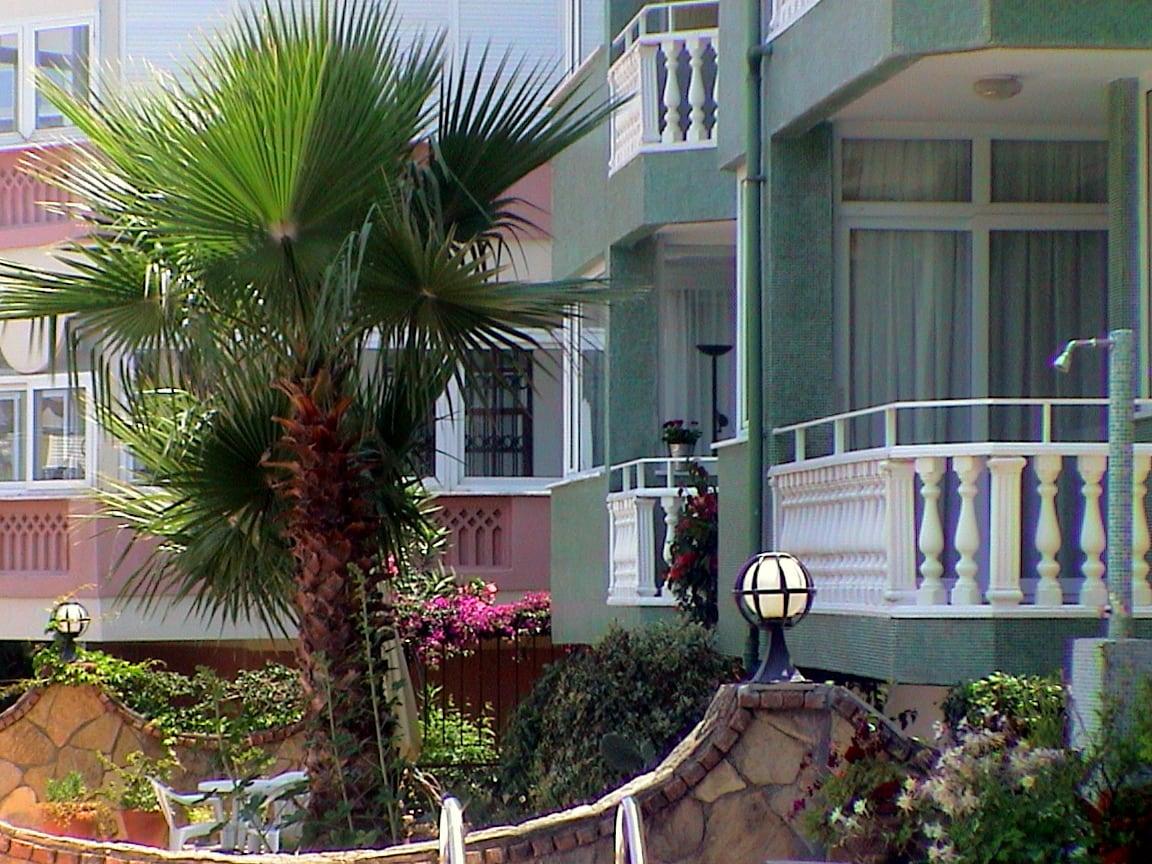 Blick vom Pool zum Balkon
