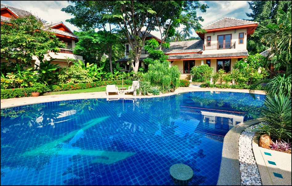Pool area, the house is in the right