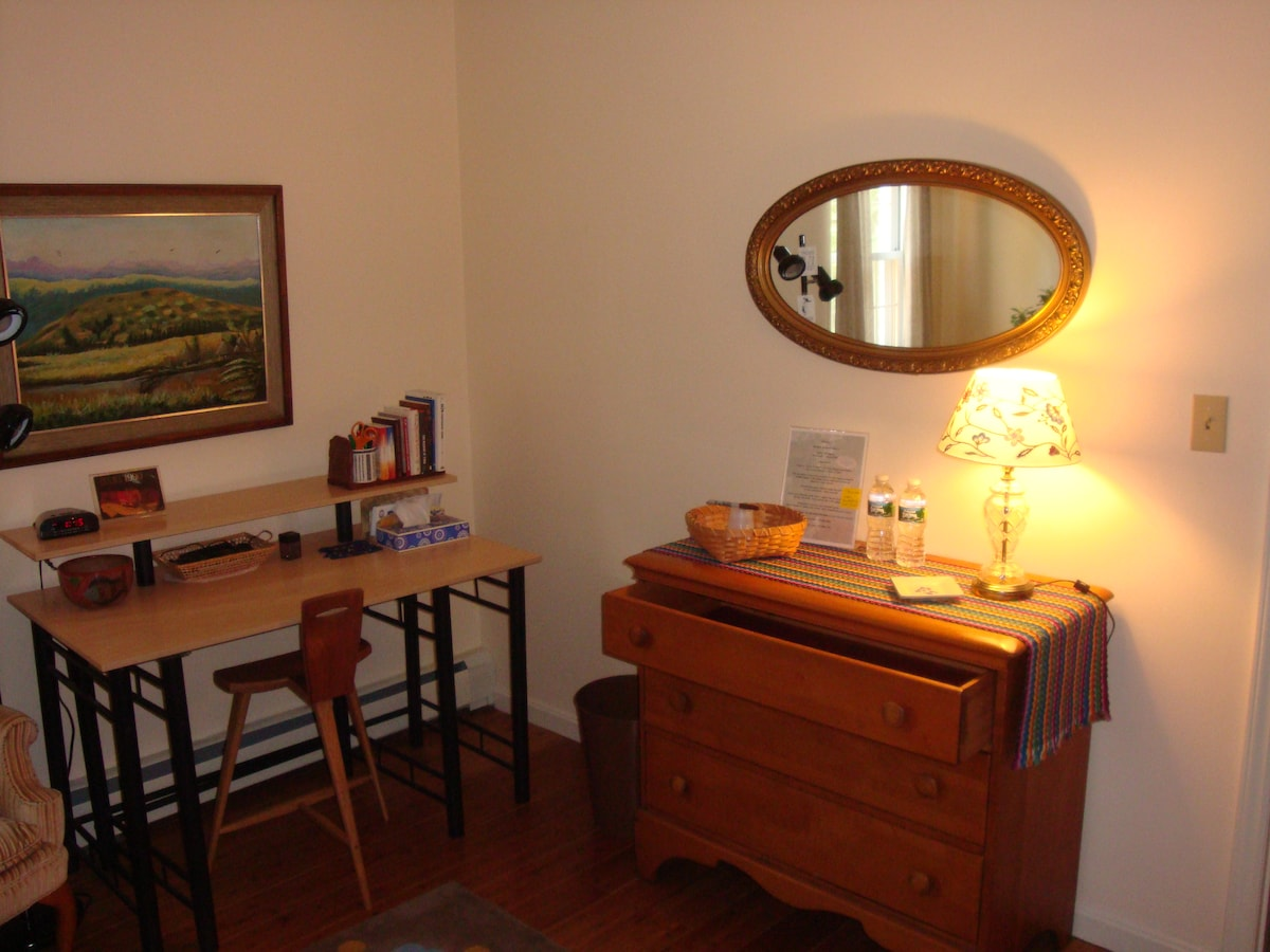 Private room with 2 bunk beds - dresser drawers are empty for your use.  Ample closet space for longer stays.