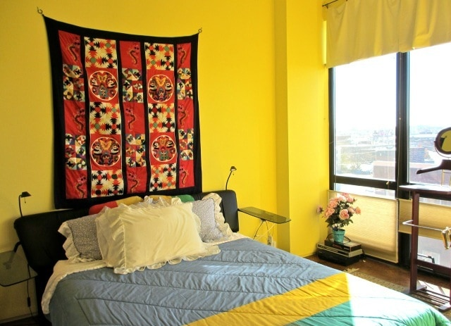 Bedroom with view of Boston