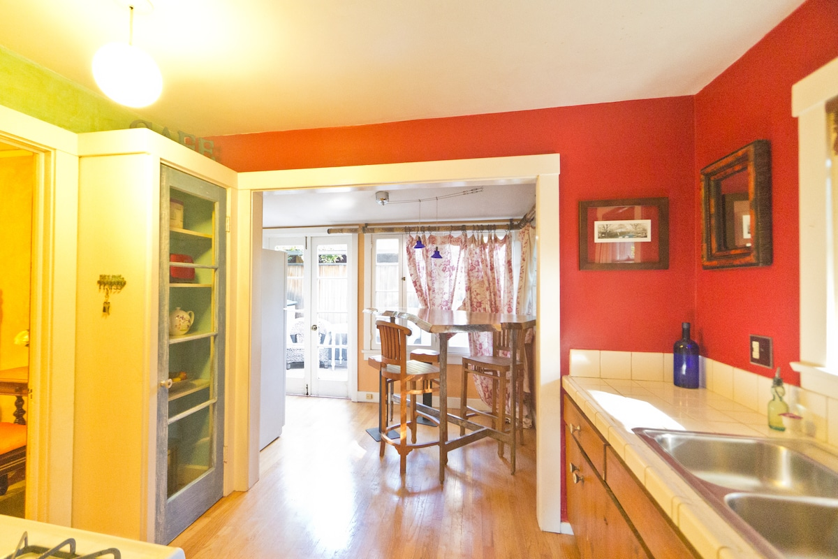 The cheerful kitchen and bright breakfast nook are stocked with everything you need - and more!