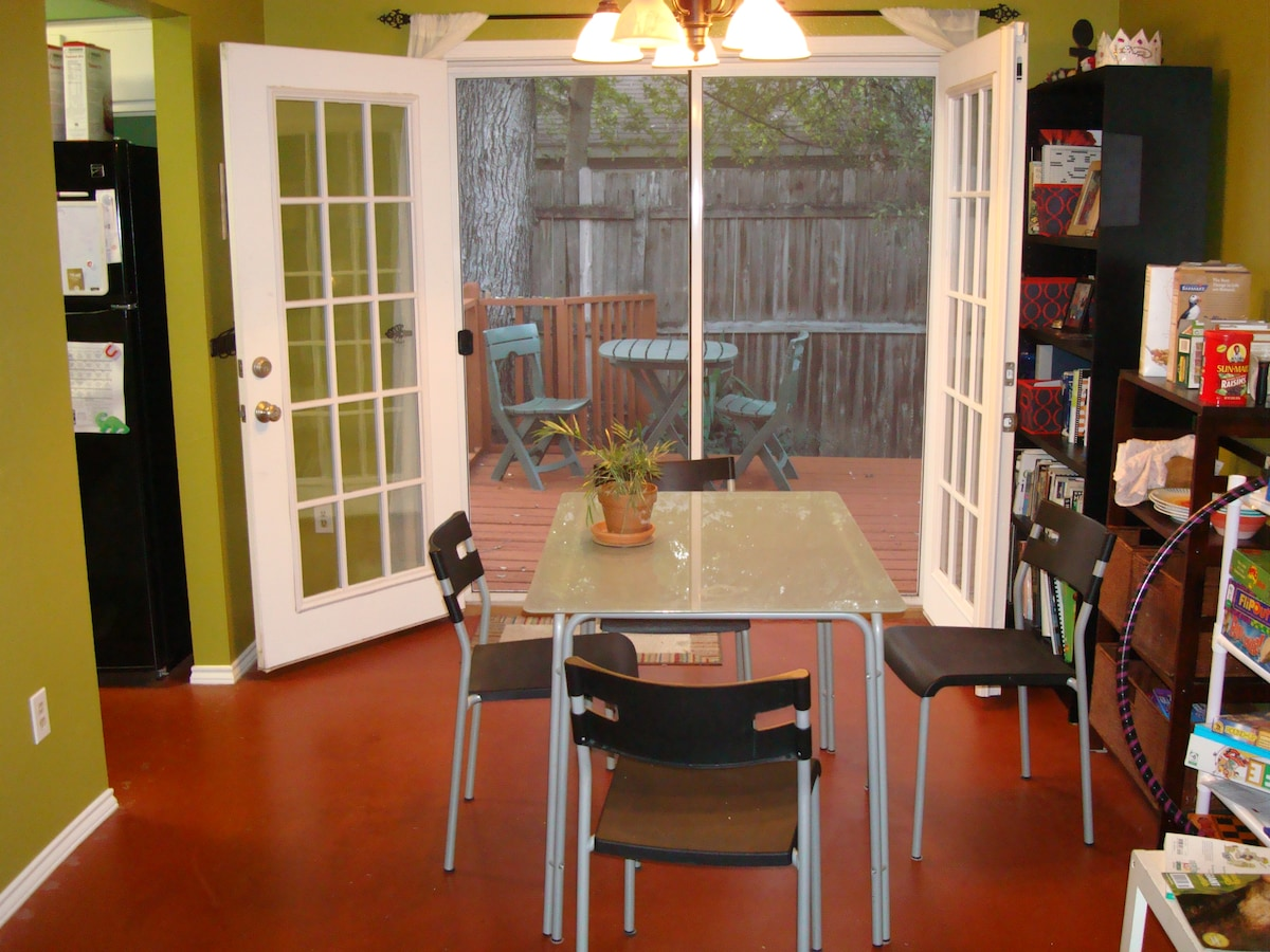 French doors open up to the deck for a couple of different dining options.