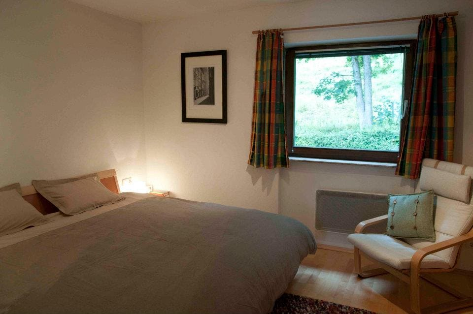 Large double bed on the bedroom