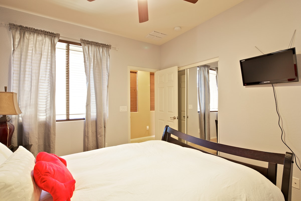 Private bedroom. Queen size bed, TV/DVD player, desk, dimmer lights, and lots of privacy