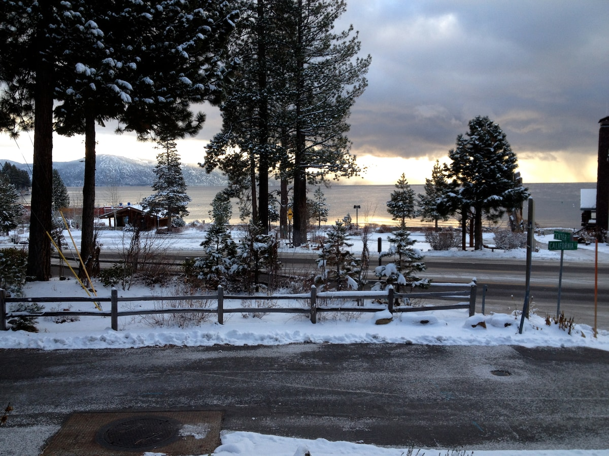 Winter view of  Lake Tahoe from our Living room.