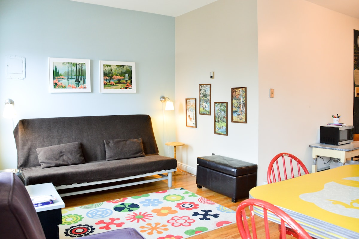 Bright and airy, family friendly! (rug has since been changed, see photos further along)