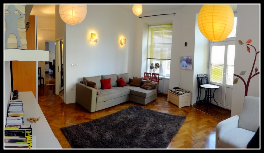 living room with access to the balcony (outside furniture is provided too!)