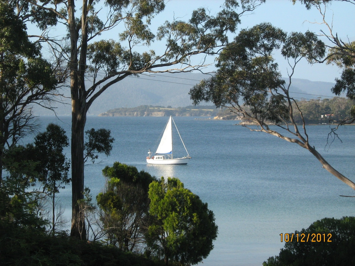 Busy time Daniels Bay from our Deck  - Traffic on Bruny!!!