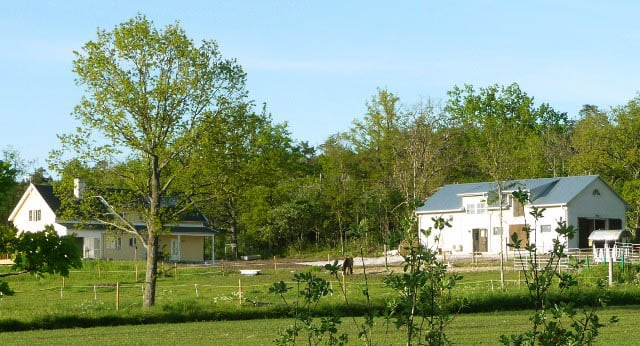 View of Avonlea from the meadow. The apartment is upstairs overlooking the horses' meadow towards  the lake.