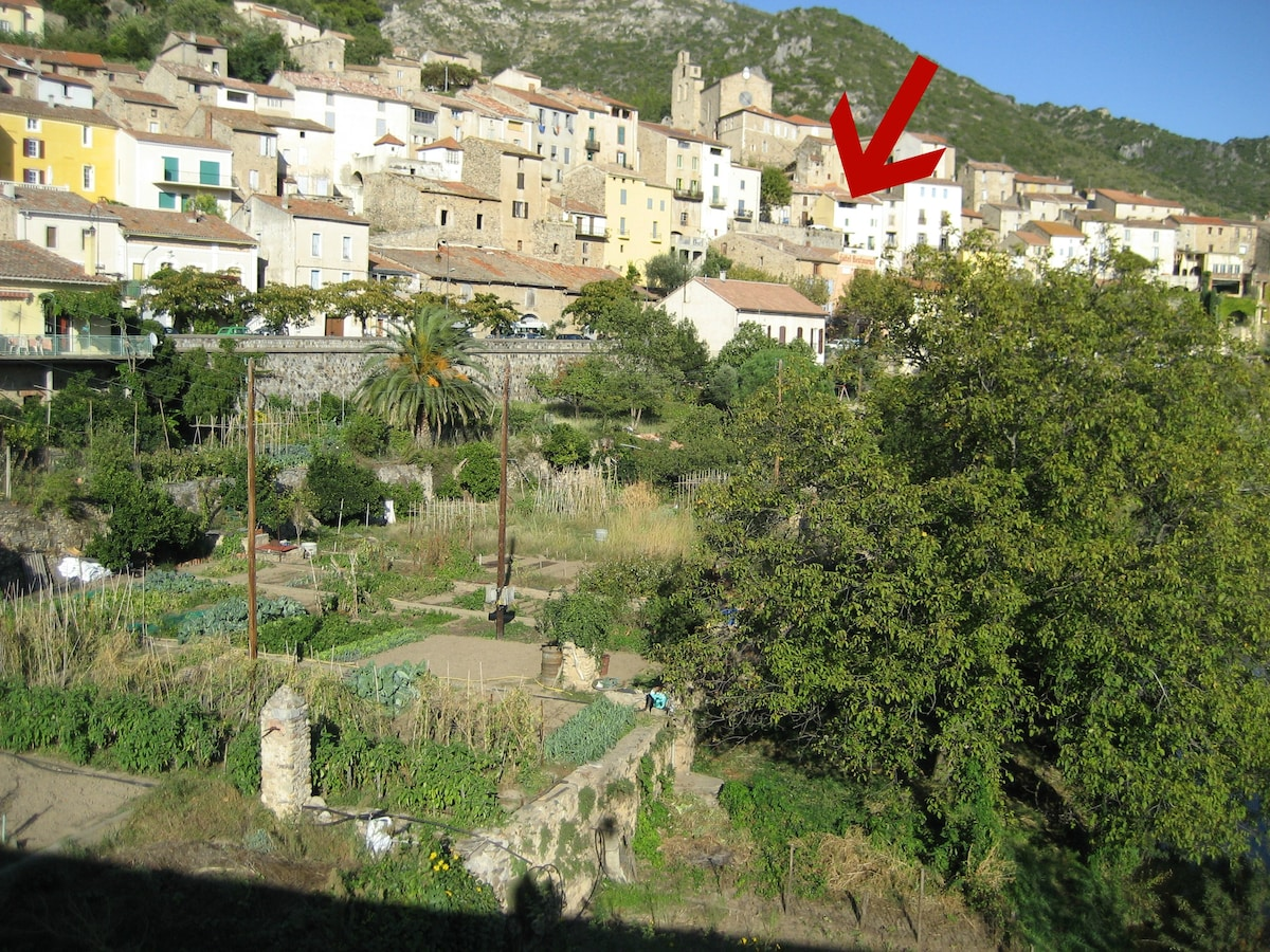 Arrow shows prime location of house in village.
