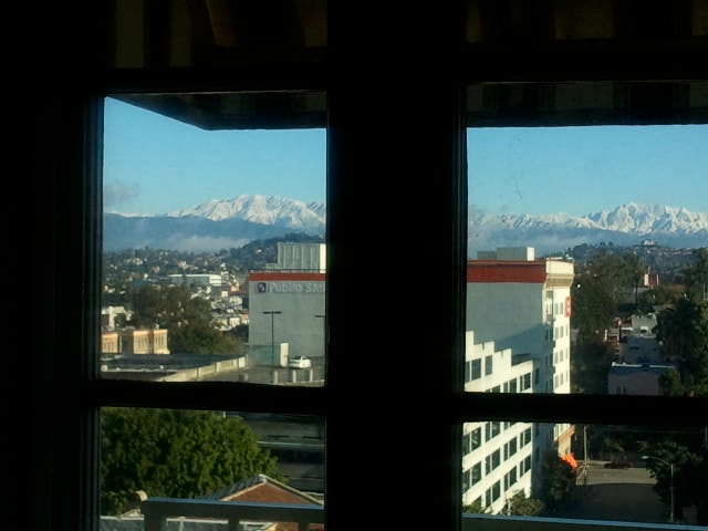 Here you can see the Santa Monica Mountains in the winter from the French Doors in your bedroom.