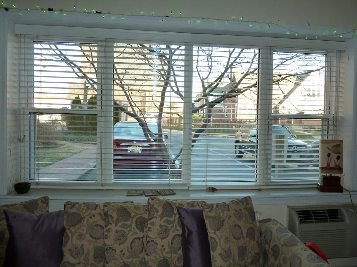 Big window in the living room brings in plenty of light during the day.   Access to convenient parking!