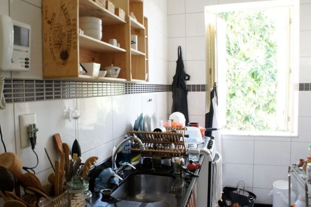 The kitchen -the window overlooks the narrow pedestrian street at the side of the house