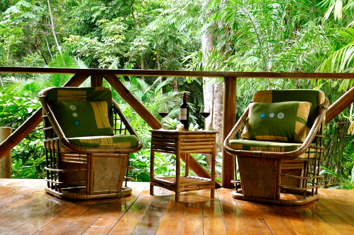 Relax to the sounds of the jungle while enjoying a glass of wine at Liquid Magic Surf Resort.