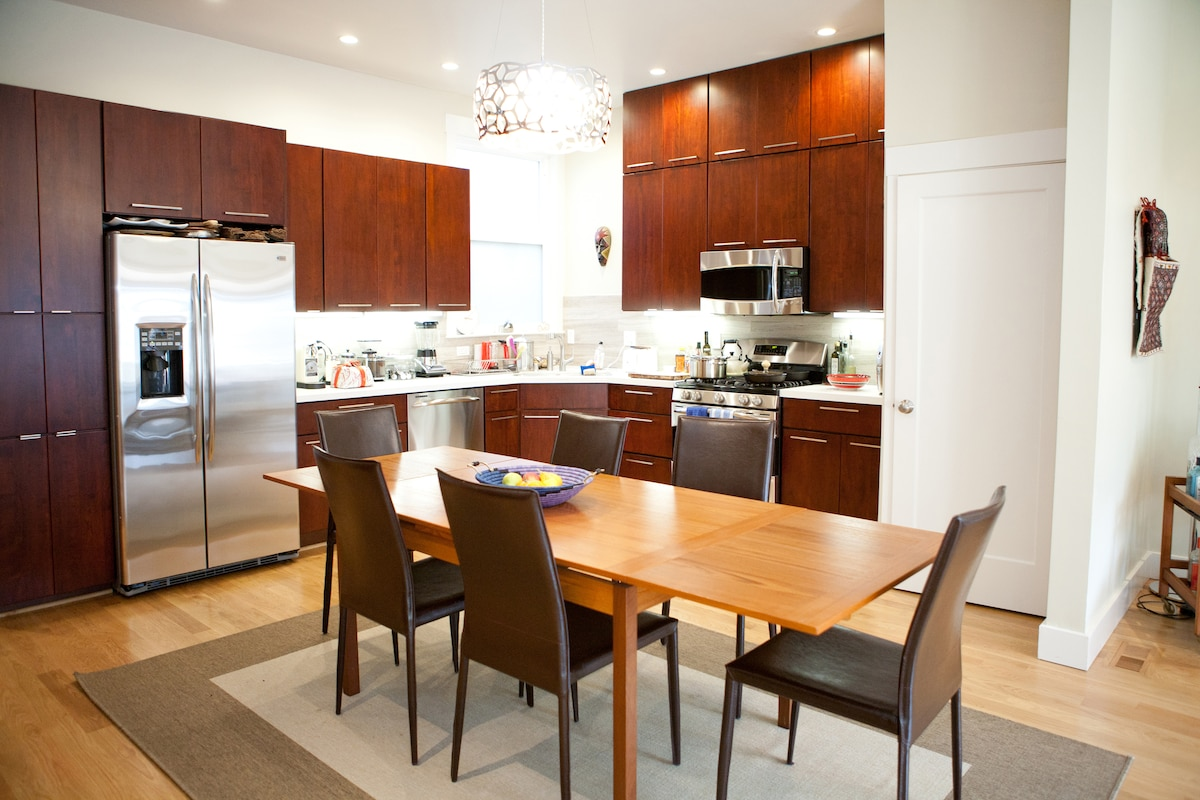 Great kitchen for hosting - plenty of high end appliances and cooking gear.