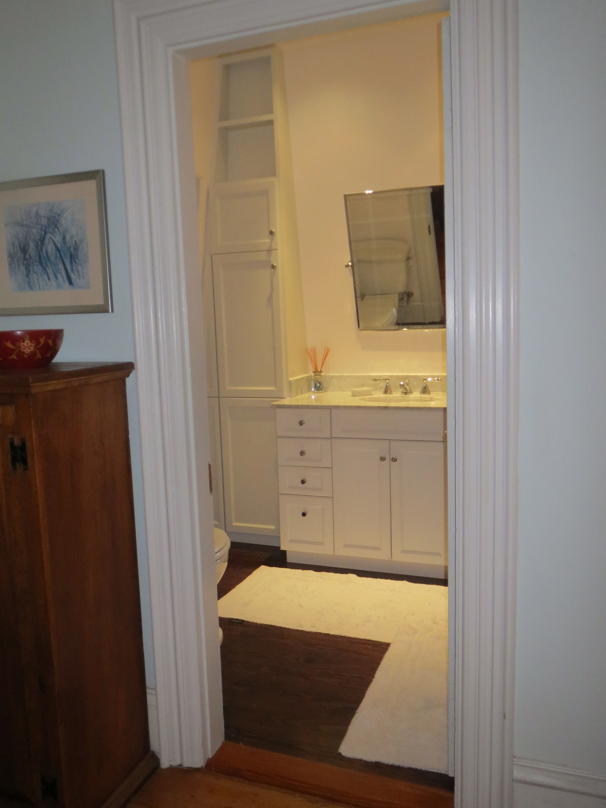 A private newly renovated bathroom.