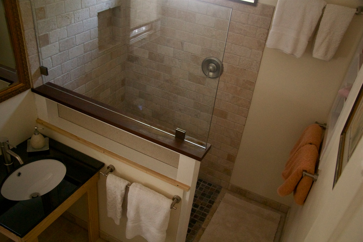 Newly remodeled bath with walk-in shower