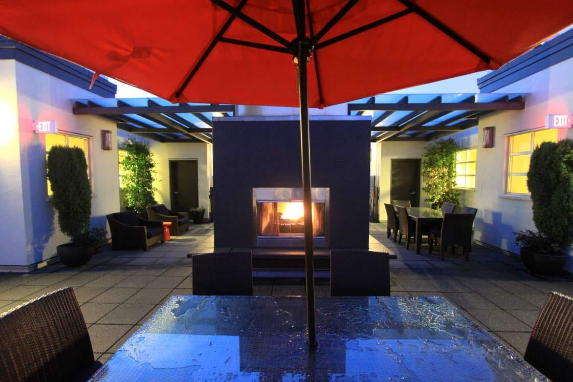 Rooftop gas fireplace