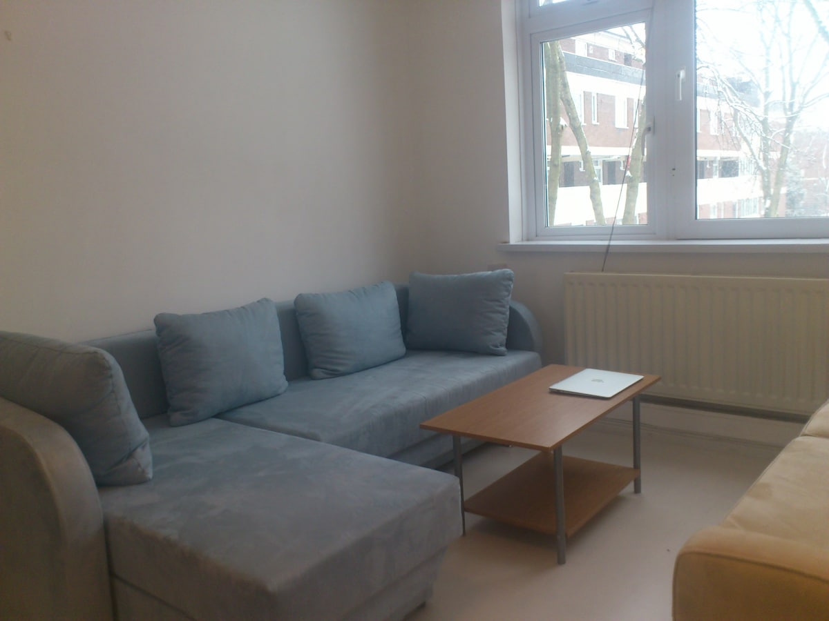 Living room is pretty big with 1 sofa and 1 large sofabed which together can be used by 3 people to sleep
