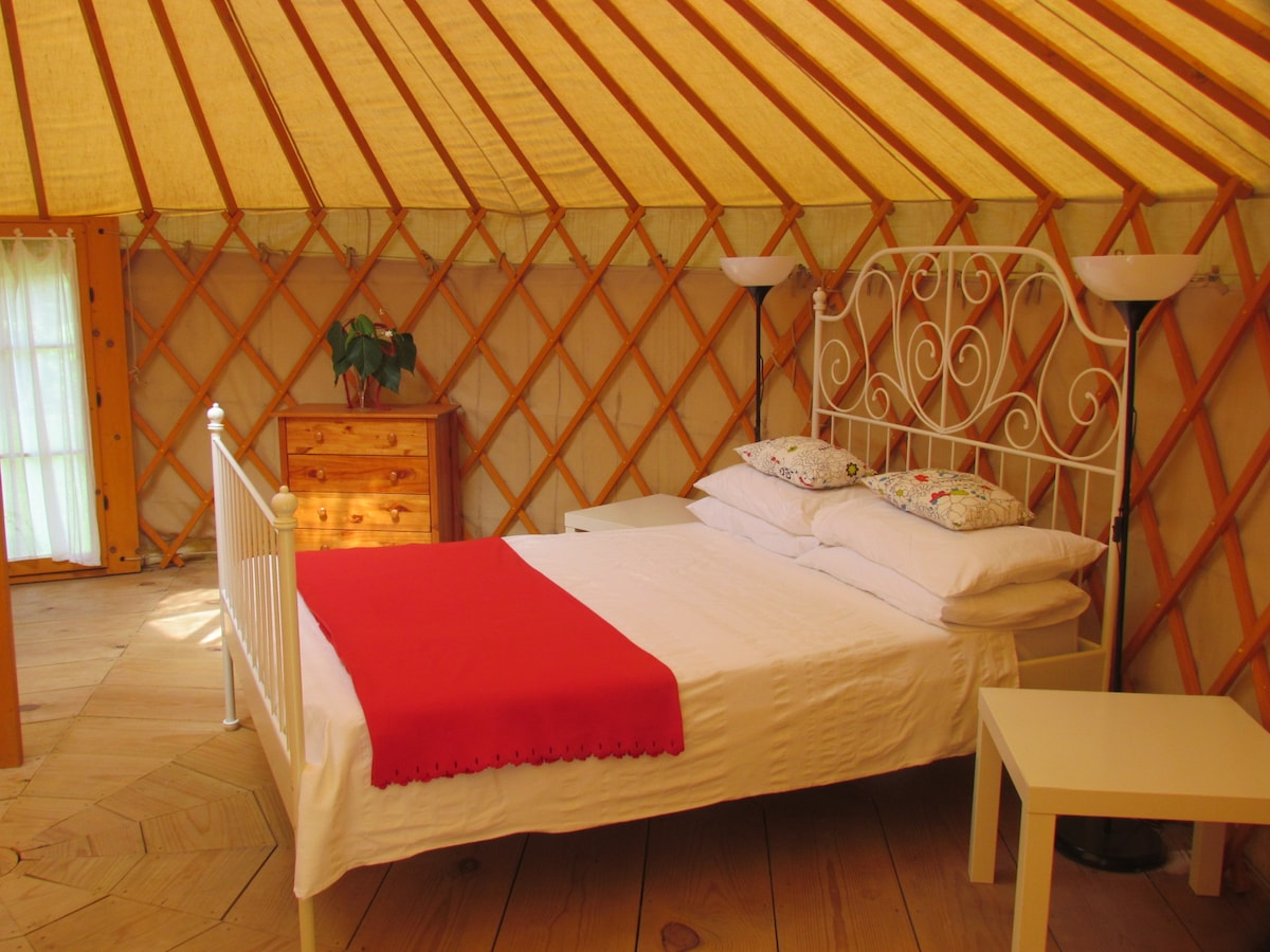 This is the interior of the cosy and spacious Yurt - with really comfortable furnishings.