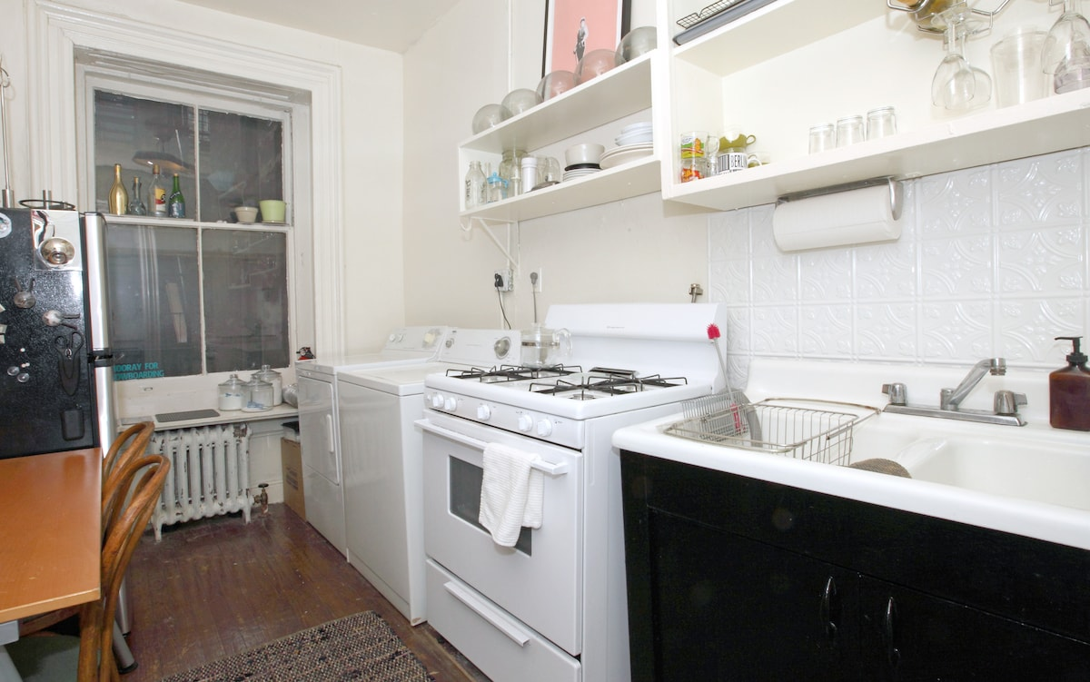 Large Kitchen with space for two to eat.