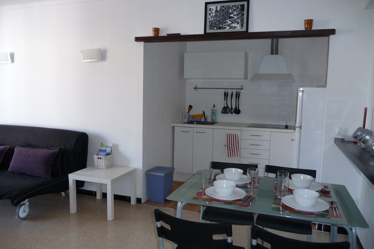 Salón y cocina totalmente equipada.