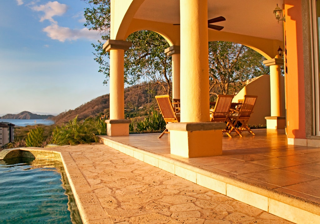Here is the view from the main floor terrace with the plunge pool and ocean beyond