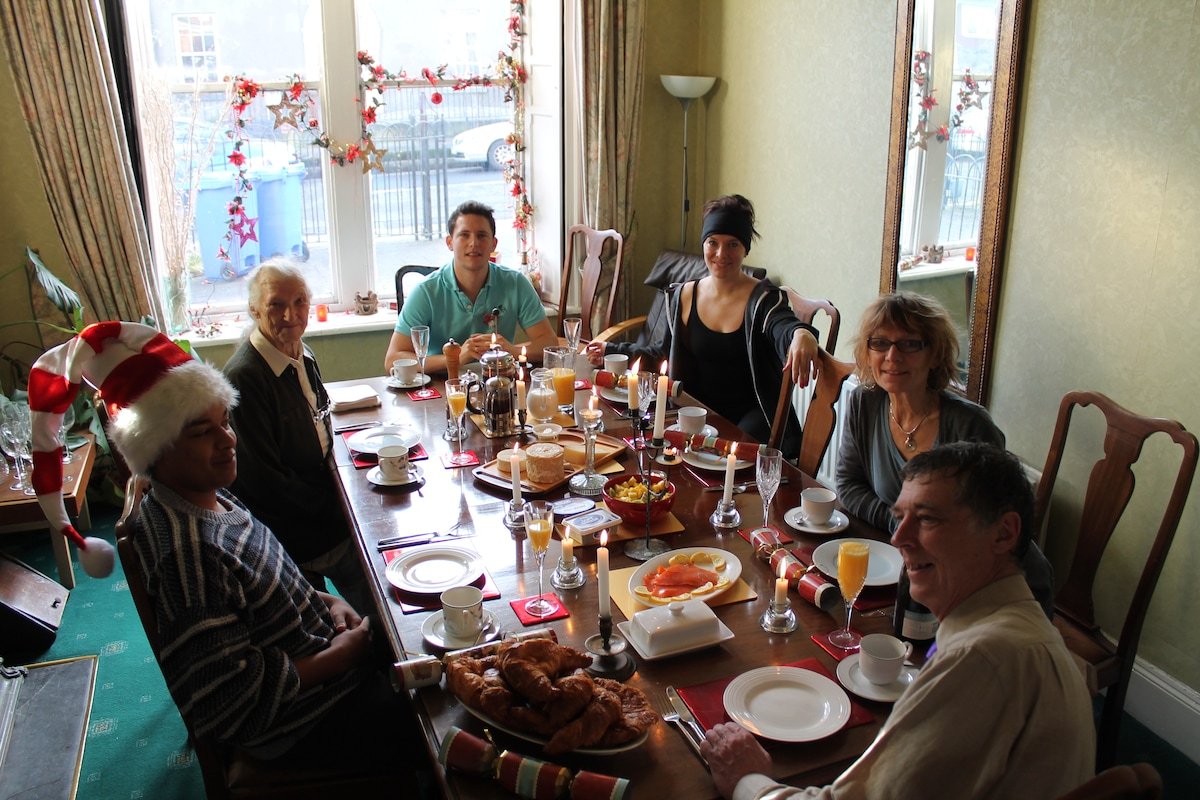 our family in the dining room at Christmas