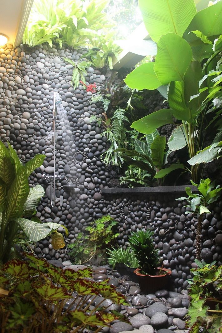 Outdoor hot and cold shower with some beautiful tropical plants.