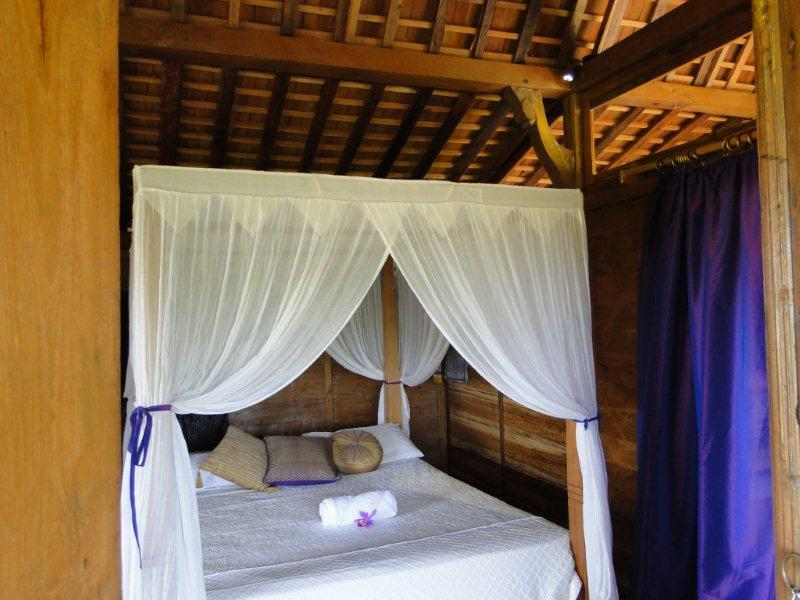 comfortable queen bed with mosquito net - fabulous surroundings