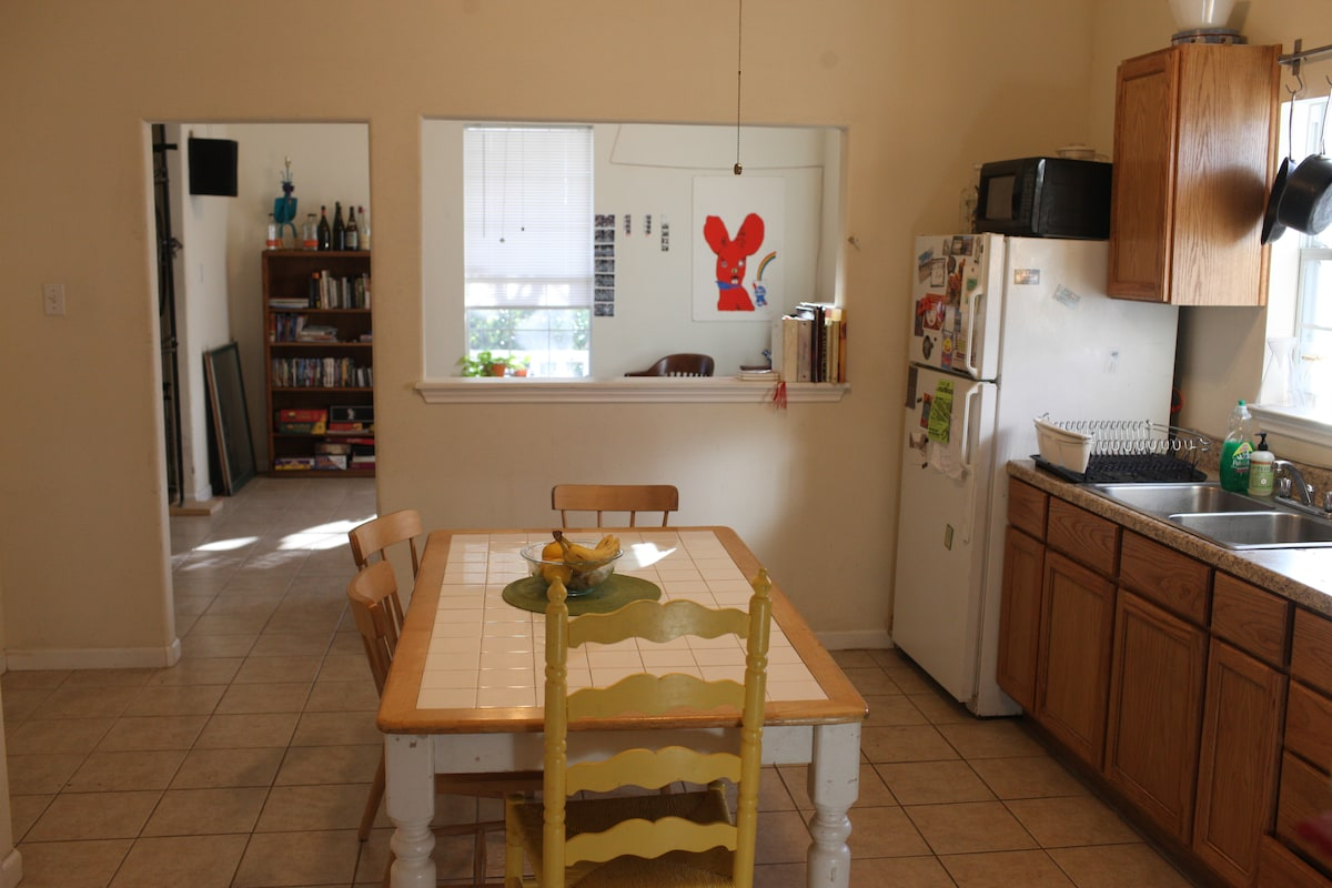 Kitchen opens up to living room
