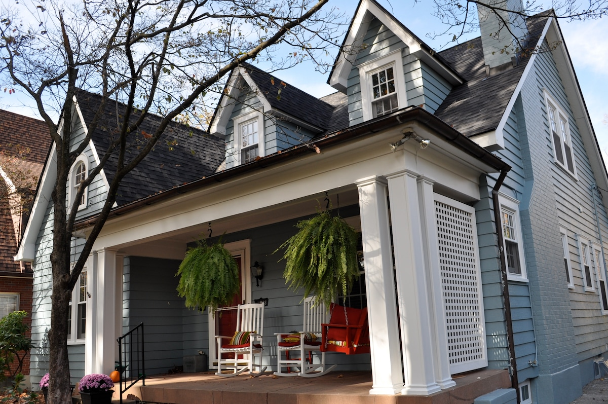 Beautiful front porch perfect for relaxing and enjoying a Mint Julep in Louisville!