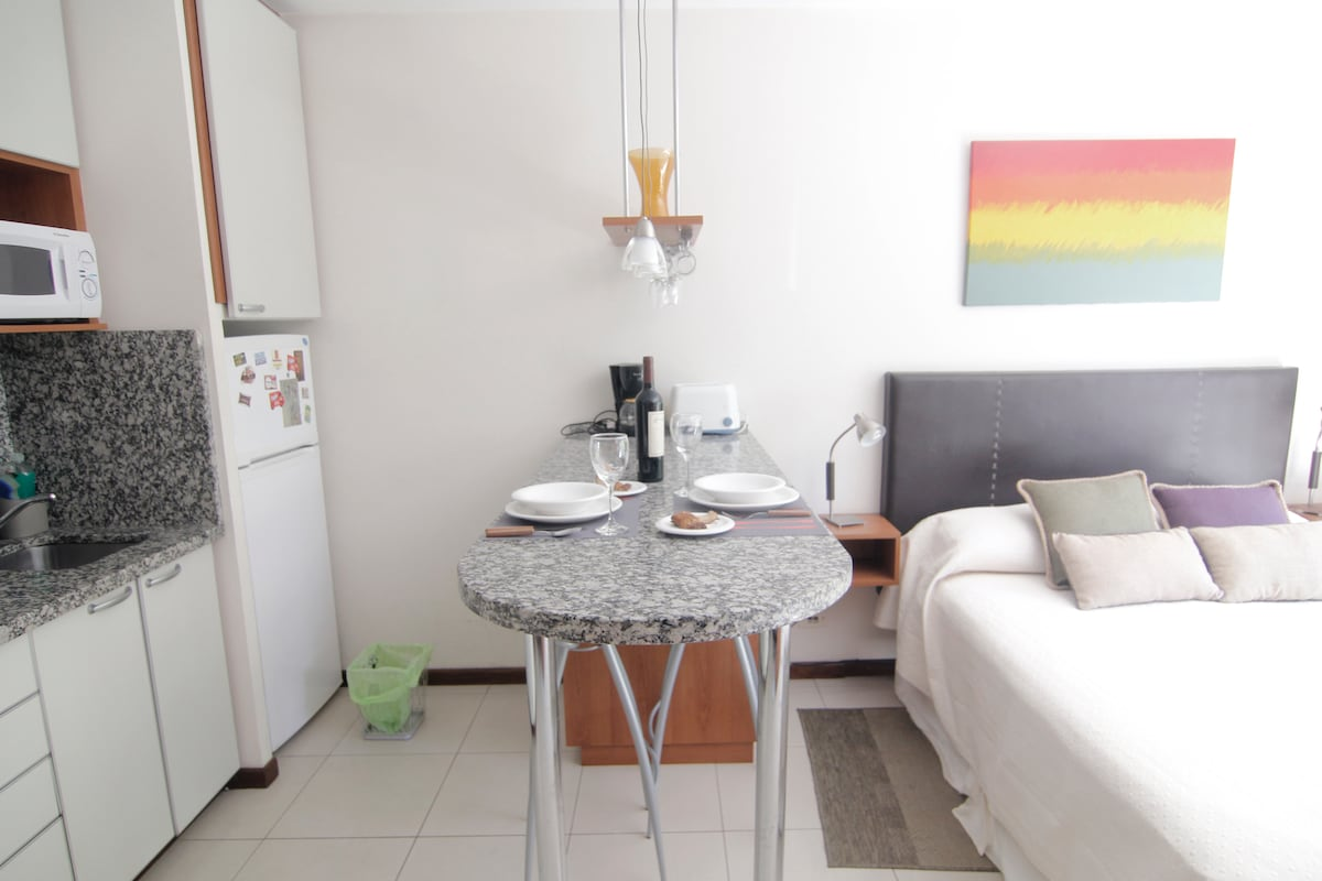 Modern studio fulled equipped with air conditioner, TV, cable and wifi, kitchen appliances, queen size sommier