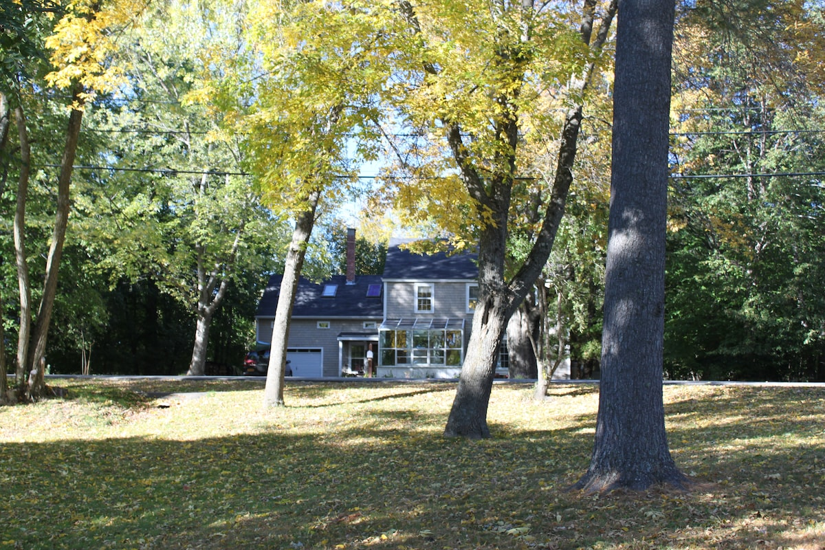 Our house in the fall--this picture is taken from Webster Park, a riverfront park across from our house.