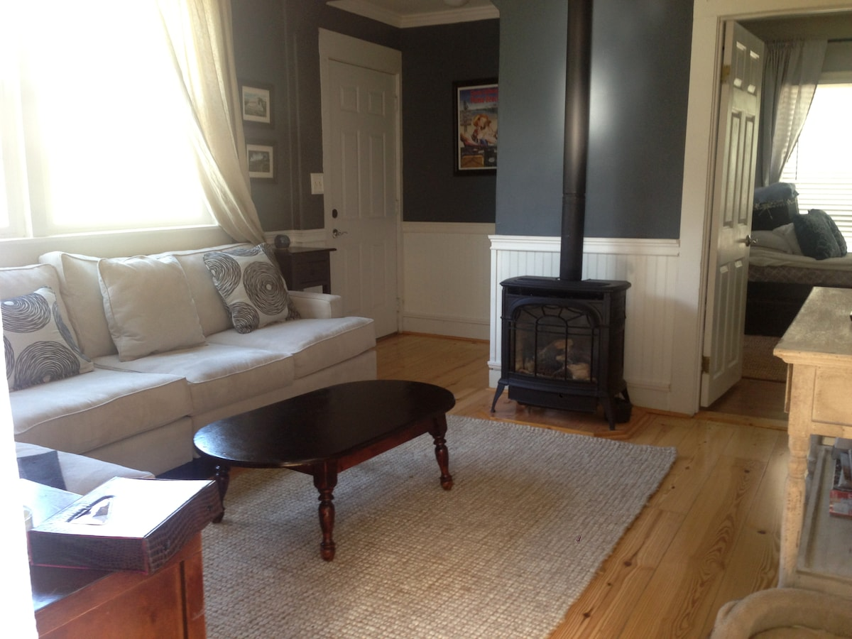 Living Room, Front Door and Gas Fireplace