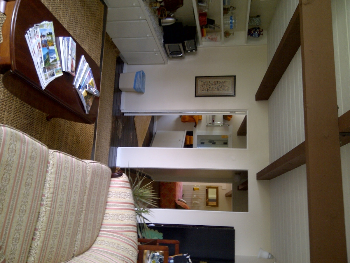 Sitting room with kitchenette, Cable TV incl HBO and Wify,,,,,,,,and a view of the sea.