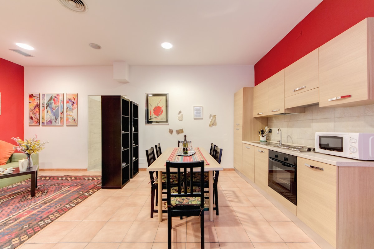 your air conditioned dining area with tv and kitchen with dish washer...