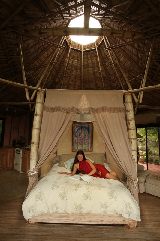 Enjoy our luxurious bamboo poster bed. Dream as you look up through the sky light, drifting into the clouds of sweet serenity.