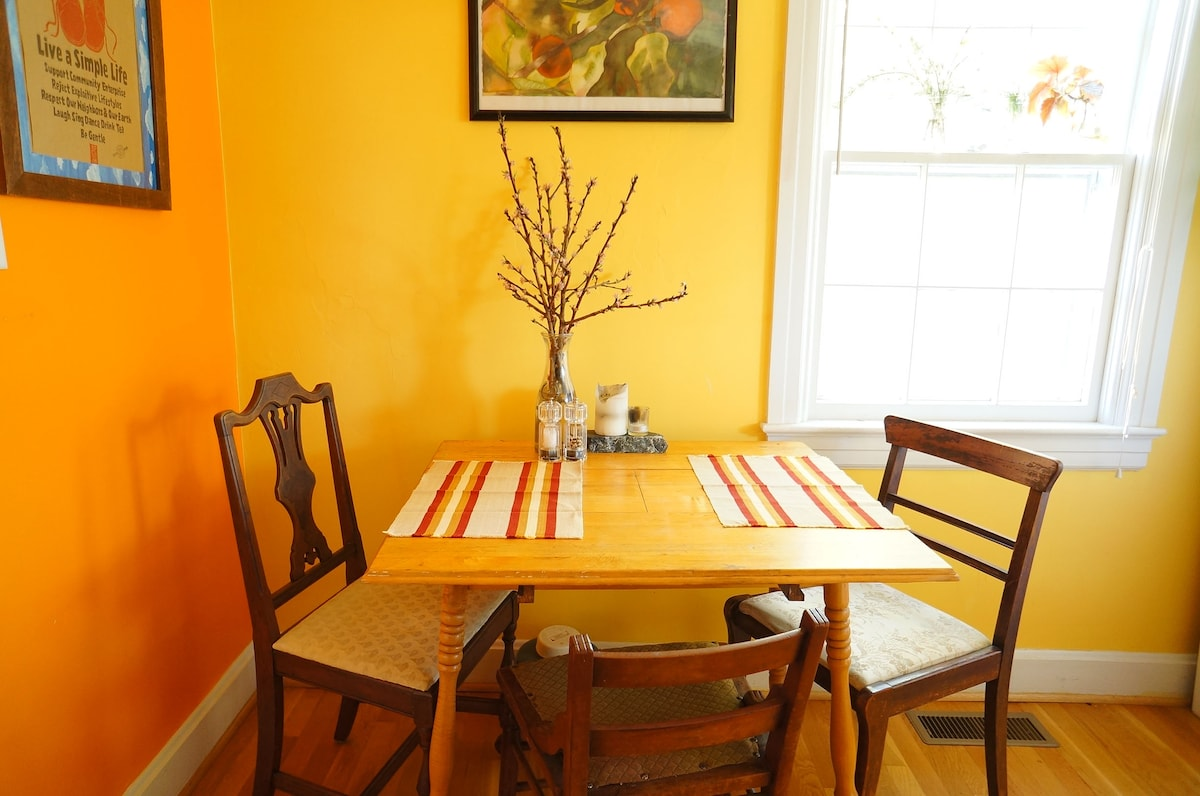 Cozy eat in kitchen inspires conversation.