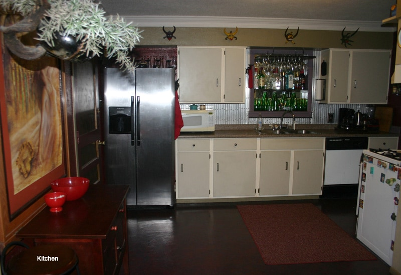 Kitchen. Modern fridge with Ice/filtered (website hidden) area.creative and open